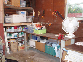 After: under workbench used and paint stored together