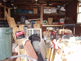 Anne's garage: before purging and sorting
