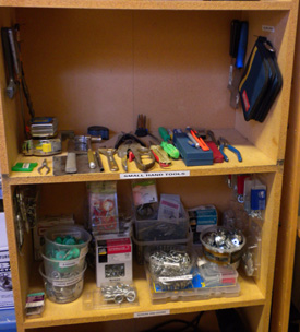 After: Like items together and shelves labeled for ease of use.